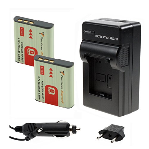 Techno Earth® 2-Pack Battery and 1 Charger for Sony NP-BG1, NP-FG1 and Sony Cyber-shot DSC-H3, DSC-H7, DSC-H9, DSC-H10, DSC-H20, DSC-H50, DSC-H55, DSC-H70, DSC-H90, DSC-HX5V, DSC-HX7V, DSC-HX9V, DSC-HX10V, DSC-HX20V, DSC-HX30V, DSC-N1, DSC-N2, DSC-T20, DSC-T100, DSC-W30, DSC-W35, DSC-W50, DSC-W55, DSC-W70, DSC-W80, DSC-W90, DSC-W100, DSC-W120, DSC-W130, DSC-W150, DSC-W170, DSC-W200, DSC-W210, DSC-W215, DSC-W220, DSC-W230, DSC-W270, DSC-W290, DSC-W300, DSC-WX1, DSC-WX10, Handycam HDR-GW77V (Techno H7 compare prices)