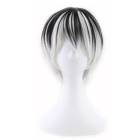 F-blue Negro Corto Gradiente Recta Blanca sintética de Halloween Peluca de Pelo de los