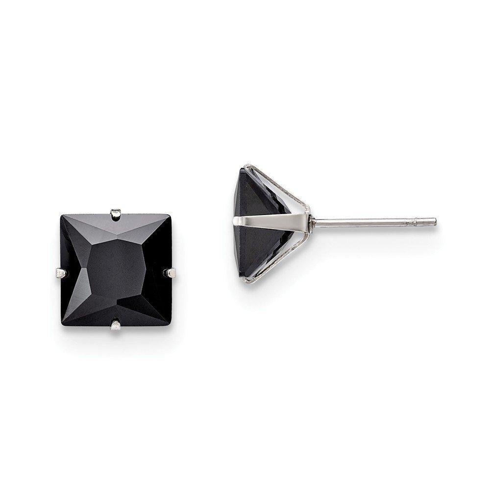 Stainless Steel Polished 9mm Black Square CZ Stud Post Earrings 9.6 mm 9.6 mm Stud Earrings Jewelry