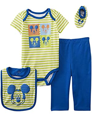 Disney Baby Infant Boys 4-Piece Green & Blue Mickey Mouse Layette Set