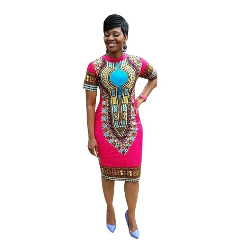 WILLTOO Women Traditional African Print Dashiki Bodycon Dress
