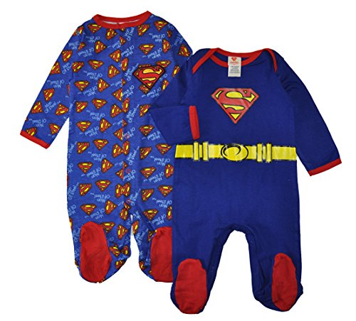 Superman Dc Comics Baby Boys Two-Pack Sleep-N-Play Coveralls (0-6 Months)]()