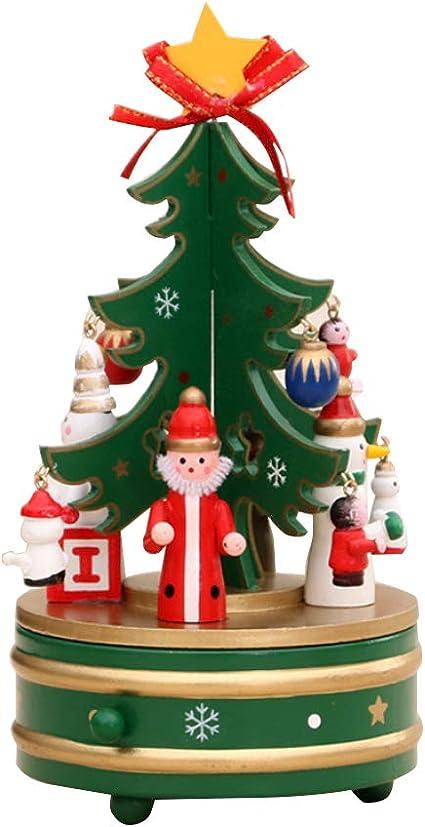 Rrunzfon Madera Rotary romántica Caja de música de Navidad Giratorio Música Árbol de Navidad Caja de la decoración del hogar para los niños de Navidad Decoración Verde 1 Pc: Amazon.es: Hogar