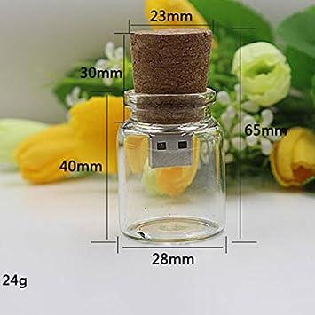 Buwico® Cute Creative personalizado U Disk de madera Botella de cristal que deseen botellas Character