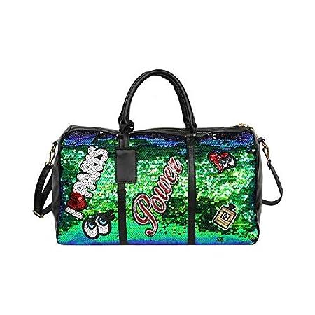 Travel Bag Fashion Casual Women Sequins Travel Bag Letters Shoulder Diagonal Bags Girl Large Capacity Outdoor Handbag