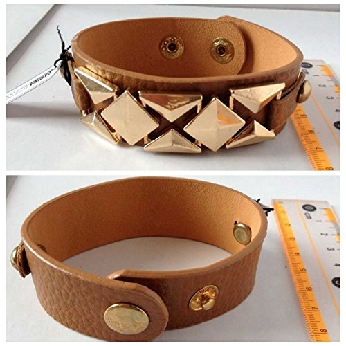 s brown leather bracelet pyramids of Egypt geometry snap button female