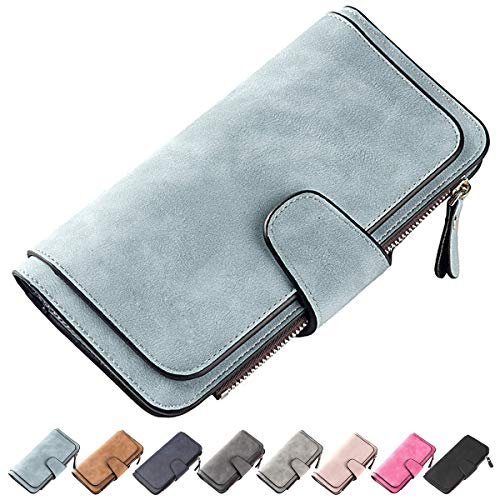 Laynos Wallet for Women Leather Clutch Purse Long Ladies Credit Card Holder Organizer Travel Purse Blue by Laynos (Image #7)