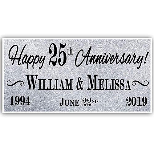 25th Wedding Anniversary Silver Banner Party Decoration ()