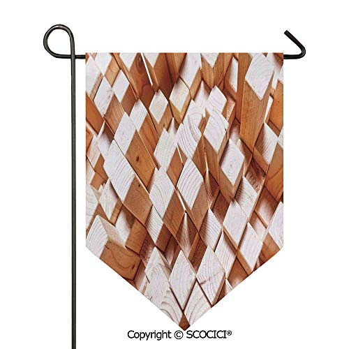 (SCOCICI Easy Clean Durable Charming 28x40in Garden Flag Natural Wooden Rustic Square Figures High and Low Oak Logs Timbre Design,Sand Brown Double Sided Printed,Flag Pole NOT Included)