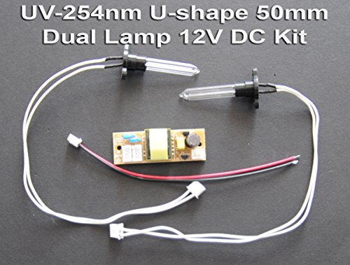UV-C Germicidal 254nm Dual U-Shape 50mm Lamp 12V DC Kit Air - Lamp 254nm Uv