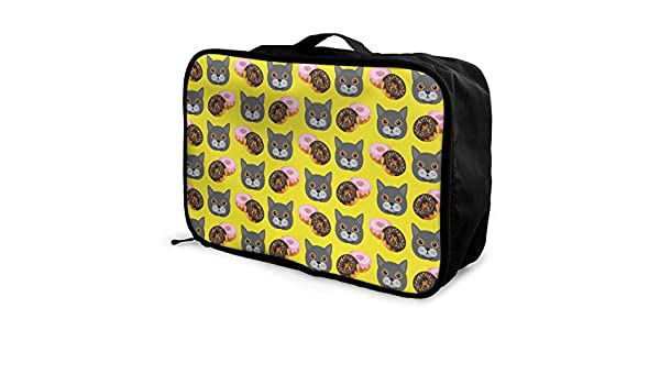 YueLJB British Shorthair Donuts Lightweight Large Capacity Portable Luggage Bag Travel Duffel Bag Storage Carry Luggage Duffle Tote Bag