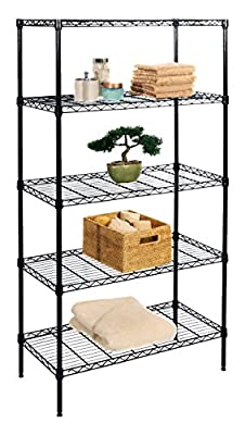 Seville Classics UltraZinc 5-Shelf Wire Shelving Rack with Wheels