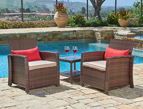 Suncrown Outdoor Furniture Wicker Chairs with Glass Top Table (3-Piece Set) All-Weather   Thick, Durable Cushions with Washable Covers   Porch, Backyard, Pool or ()