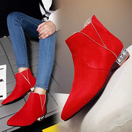 HBDLH HBDLH HBDLH Damenschuhe Rote Wedding Schuhe Winter Kurze Stiefel Niedrige Absätze Die Braut Rote Schuhe Flache Sohlen Schwangere Heiratet Stiefel Nackt - Stiefel 39 des 0497af