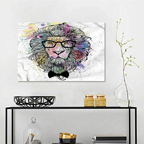 one1love Girls Art Oil Painting Hipster Lion with Glasses Contemporary Abstract Art W27 ()