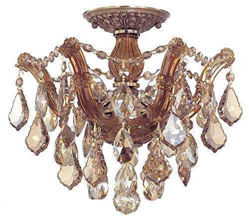 Crystorama 4430-AB-GTS Maria Theresa - Three Light Ceiling Mount, Golden Teak Swarovski Spectra Crystal