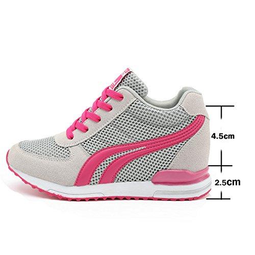 7 Donna LILY999 Tacco Sneakers Scarpe Zeppa Interna Grigio Sportive Nero Fitness CM Zeppa Basse Ginnastica da Bianco Grigio wt7tr