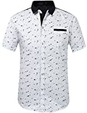 SSLR Men's Printing Pattern Button Down Casual Short Sleeve Shirts (4X-Large, White)