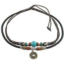 Ancient Tribe Unisex Adjustable Hemp Genuine Leather Necklace Choker Turquoise Bead