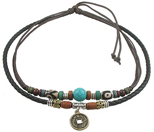 (Ancient Tribe Unisex Adjustable Hemp Black Leather Choker Necklace Turquoise Bead)