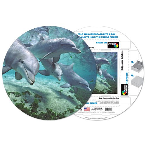 Bottlenose Dolphins Puzzle A-Round 140 piece Round Jigsaw Puzzle