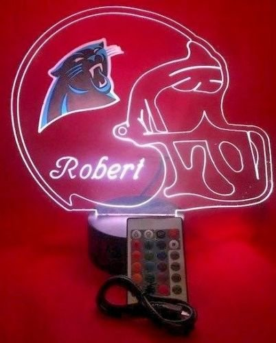 (Carolina Panthers NFL Light Up Lamp LED Personalized Free Football Light Up Light Lamp LED Table Lamp, Our Newest Feature - It's Wow, with Remote, 16 Color Options, Dimmer, Free Engraved, Great Gift)