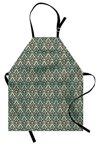 Mint and Brown Aprons, Kitchen Bib Apron Adjustable for Cooking Baking Gardening Unisex - Baroque Flower Motifs in Damask Style Traditional Revival Art, Mint Green and Dark Brown