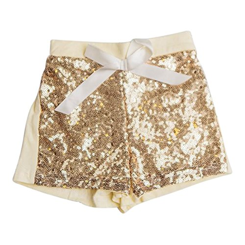 Think Pink Bows Little Girls Yellow Gold Sparkle Sequined Sunshine Shorts (Yellow Gold Sparkle)