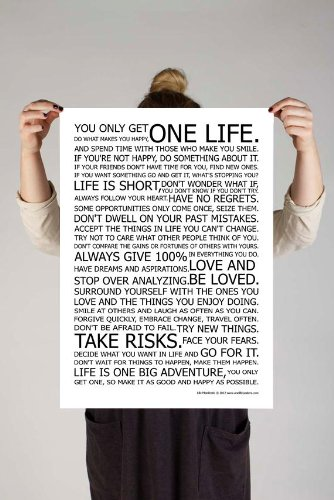 LIFE MANIFESTO POSTER – The World Famous Original Motivational Quote Wall Art Picture Print – Size A2 (420 x 594mm)
