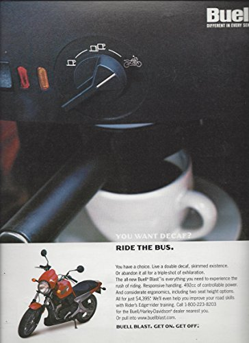 PRINT AD For Buell Motorcycles You Want Decaf Ride The Bus