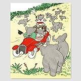 Best Cloud Nine Prints Toddler Girl Books - Car Nursery Print, Babar the Elephant Storybook Illustration Review