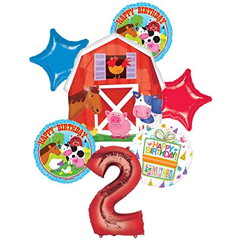 Mayflower Products Farm Animal 2nd Birthday Party Supplies and Barn Balloon Bouquet Decorations -