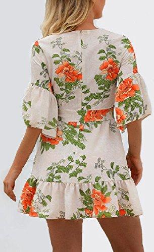 Jaycargogo Des Femmes De Manchon En Cloche Sexy Volant O Cou Floral Robe Courte Imprimée 1