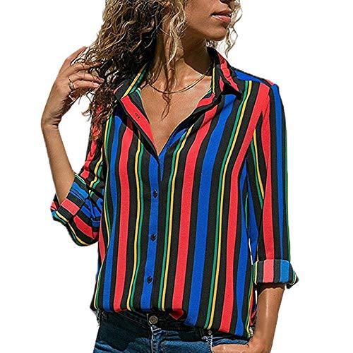 Automne Blouse Femme Longue Loose Rouge Decha Beu Printemps Chic Imprim V Casual et Chemise Top Chemisier Shirt Ray Manche Cou T nWfW4gc