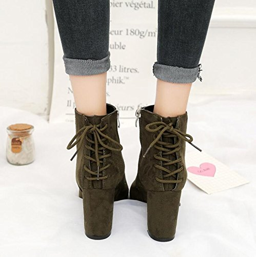 The 35 Rear With Strap Shoes Spring And Heeled Boots High Short Thick Satin Autumn Shoes Single And Tip Martin Boots KHSKX Winter And TAqBaxTw