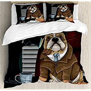 Ambesonne English Bulldog Duvet Cover Set, Traditional English Detective Dog with a Pipe and Hat Sherlock Holmes Image, Decorative 3 Piece Bedding Set with 2 Pillow Shams, Queen Size, Pale Brown 11