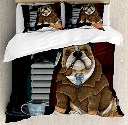 Ambesonne English Bulldog Duvet Cover Set, Traditional English Detective Dog with a Pipe and Hat Sherlock Holmes Image, Decorative 3 Piece Bedding Set with 2 Pillow Shams, Queen Size, Pale Brown 1