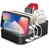 Kisreal Smart 6-Port USB Charging Station Organizer Compatible with iPhone, iPad, Apple Watch, Airpods, Xbox, Playstation and Other Android Phones and Tablets (6)