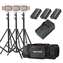 Neewer 3-Pack OE-160 Lighting Studio Light and Stand Kit Includes: (3)5600K Dimmable LED Video Light, (3)26-75 inches Light Stand, (3)Battery, (1)Charger, (1)Case for Studio and Product Photography