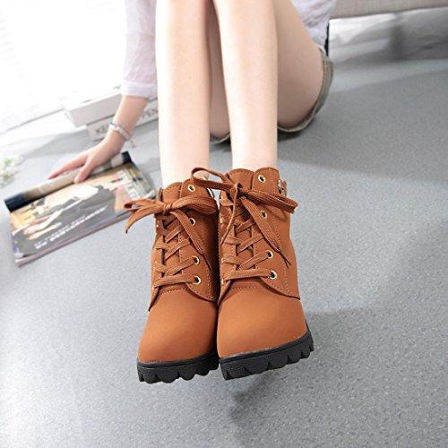 Zapatos interiores, Amlaiworld Zapatos de tacón alto de tacón alto hasta el tobillo Amarillo