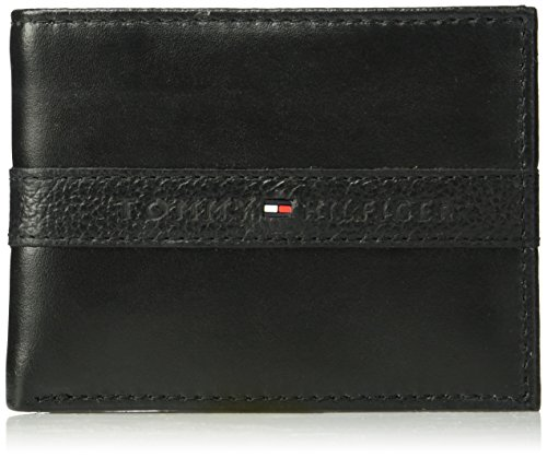 Tommy Hilfiger Men's Leather Wallet - RFID Blocking Slim Thin Bifold with Removable Card Holder and Gift Box, Ranger - Black