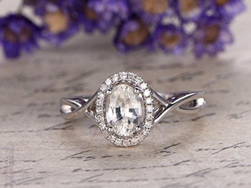 White sapphire Engagement Ring 14K White Gold 5x7mm Oval Cut Sapphire Halo Ring Criss Cross Ring, Twist Band SI I-J Diamonds VS White (Band Oval Cross)