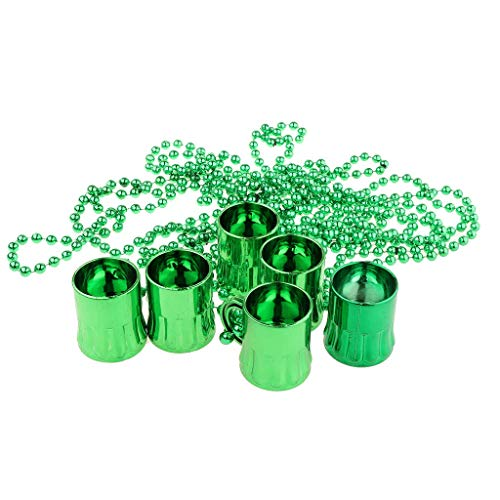 St. Patricks Day Necklace, Shamrock Patrick Beaded for Women, Green Plastic BeadsTraveling Shot Glasses, Party Favors Supplies, Bulk Pack of 12 ()