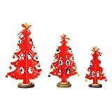 Alonea Merry Christmas Decor Toy Doll Gift Home Children Kids Santa Snowman Wood Tree (3PCS S+M+L, Red)