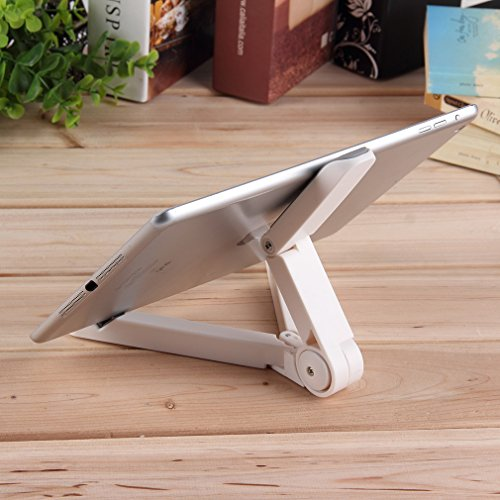 LESHP Adjustable Tablet Stand,Foldable Tablet Stand, Adjustable Universal 7-10 Inch Tablet Holder Cradle for iPad Mini 4 / iPad Pro 9.7 Inch, Samsung Galaxy S7 / S7 Edge, Galaxy Note 10.1 (White)