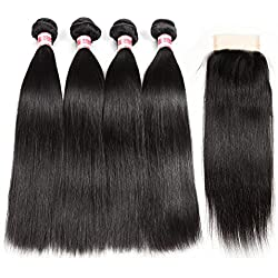 Hermosa Brazilian Straight Hair 4 Bundles with Closure 7A Unprocessed Virgin Brazilian Hair with Closure Human Hair Natural Black (20 22 24 26 with 18 closure)