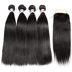 Hermosa Brazilian Straight Hair 4 Bundles with Closure 7A Virgin Unprocessed Human Hair Bundles with Closure Mink Brazilian Hair with Closure Free Part (14 16 18 20+12)