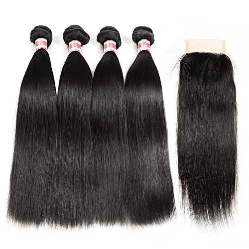 Hermosa Brazilian Straight Hair 4 Bundles with Closure 7A Unprocessed Virgin Brazilian Hair with Closure Human Hair Natural Black (16 18 20 22 with 14 closure) (Closure Four)