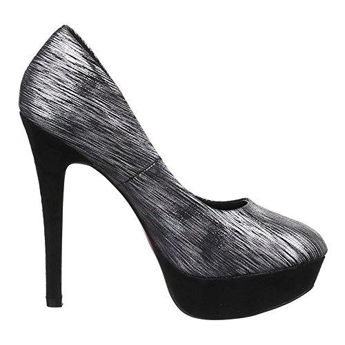 Ital-Design - Zapatos de Tacón Mujer Schwarz Grau