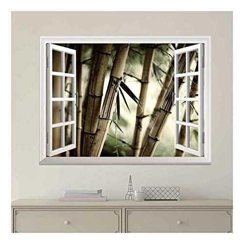 White Window Looking Out Into Large Sepia Bamboos Wall Mural